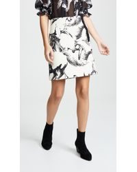 Adam Lippes - Printed Wool Mini Wrap Skirt With Buttons - Lyst
