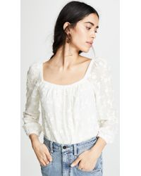 Rebecca Taylor - Long Sleeve Kyla Embroidered Top - Lyst