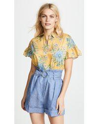 Madewell - Yellow Van Gogh Floral Printed Ruffle Sleeve Shirt - Lyst