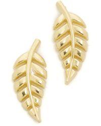 Jennifer Meyer - Mini Leaf Stud Earrings - Lyst