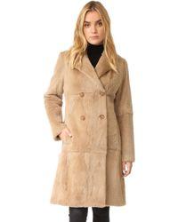 June - Fur Trench Coat - Lyst