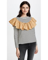 English Factory - Striped Top With Contrast Ruffle - Lyst