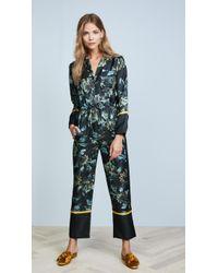 Whistles - Lyle Print Silk Pajama Jumpsuit - Lyst