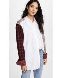 Helmut Lang - Plaid Patchwork Shirt - Lyst