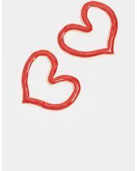 Oscar de la Renta - Painted Heart Outline Earrings - Lyst