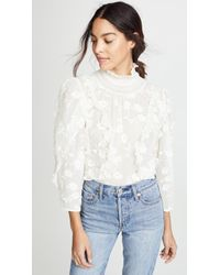 Rebecca Taylor - Long Sleeve Silk Embroidered Top - Lyst
