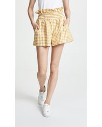 English Factory - Ruffled Gingham Shorts - Lyst