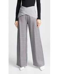 Dion Lee Wide Leg Check Trousers - Gray