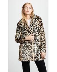 FRAME - Cheetah Print Faux Fur Coat - Lyst
