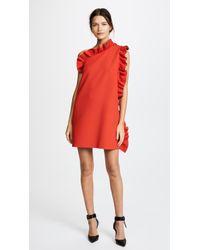 MSGM   One Shoulder Crepe Ruffle Dress   Lyst