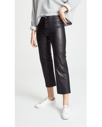 David Lerner - Faux Leather High Rise Trousers - Lyst