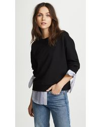 10 Crosby Derek Lam | Sweatshirt With Shirting Detail | Lyst