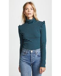 Three Dots - Long Sleeve Turtleneck With Ruffle Shoulder - Lyst