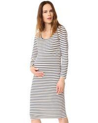 Monrow - Maternity Stripe Long Sleeve Dress - Lyst