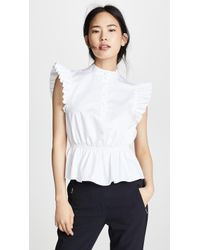Adam Lippes - Ruffle Sleeve Top With Placket - Lyst