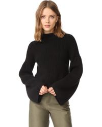 Autumn Cashmere | Cropped Sweater With Trumpet Sleeves | Lyst