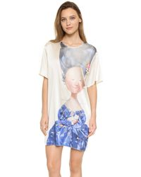 Anna K - Lady With Cat Printed Silk Dress - Lyst