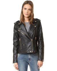 Blank - Leather Moto Jacket - Lyst