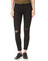 Blank - Ripped Raw Hem Skinny Jeans - Lyst