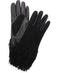 Carolina Amato - Leather & Suede Fringe Gloves - Lyst