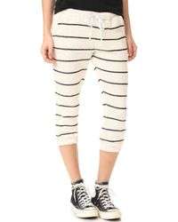 Chaser - Striped Slouchy Drawstring Crop Trousers - Lyst
