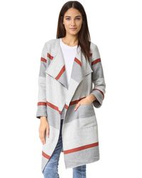 Cupcakes And Cashmere - Jolie Yarn Dyed Stripe Blanket Coat - Lyst