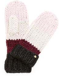Kate Spade - Chunky Knit Colorblock Mittens - Lyst