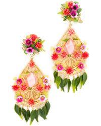 Mercedes Salazar Artes Fiesta Flor Rosa Clip On Earrings - Pink
