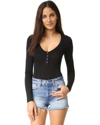 Re:named - Long Sleeve Henley Bodysuit - Lyst
