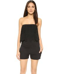Pam & Gela - Strapless Romper With Lace - Lyst