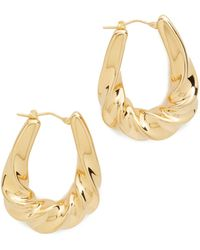 Soave Oro - Graduated Twisted Oval Hoop Earrings - Lyst
