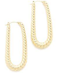 Soave Oro - Elongated Ribbed Hoop Earrings - Lyst