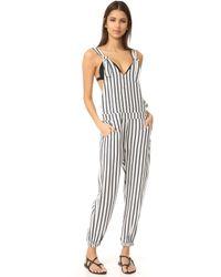 Tori Praver Swimwear - Woven Lily Striped Overalls - Lyst