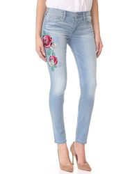 True Religion - Halle Mid Rise Embroidered Skinny Jeans - Lyst