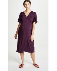 Ingrid & Isabel - Flutter Sleeve Knit Maternity Wrap Dress - Lyst