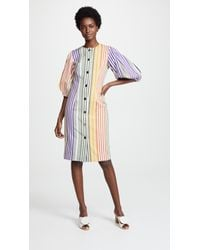 Tata Naka | Button Down Dress With Puff Sleeves | Lyst