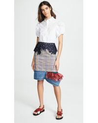 Kolor - Lace Detailed Checked Skirt - Lyst