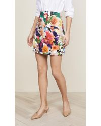 Cushnie et Ochs - Celina High Waisted Surrealist Floral Miniskirt - Lyst