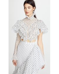 Rodarte - Polka Dot One Sleeve Cropped Blouse - Lyst