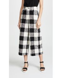 Paul Smith - Wide Leg Cropped Check Trousers - Lyst
