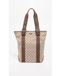 009d4232daecaf What Goes Around Comes Around - Gucci Brown Canvas Web Tote Bag - Lyst