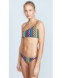 MILLY - Chevron One Shoulder Bikini Top - Lyst