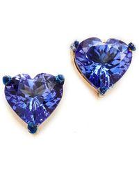Holly Dyment - Tanzanite Heart Shaped Stud Earrings - Lyst