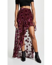 For Love & Lemons - Sophie Velvet Floral Skirt - Lyst