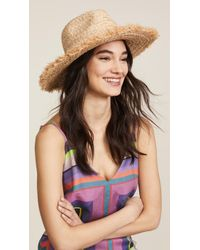 ba95a7b8aa3 Lyst - Hat Attack Neon Ribbon Raffia Fedora in Natural