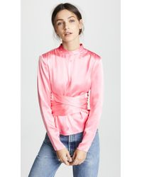 Edition10 - Satin Waist Tie Blouse - Lyst