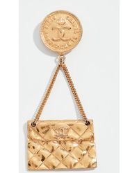 What Goes Around Comes Around - Chanel Gold Flap Bag Pin - Lyst