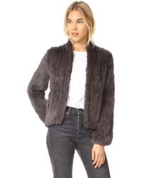 June - Knitted Fur Bomber Jacket - Lyst