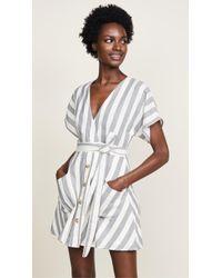 Moon River - Striped Wrap Dress - Lyst