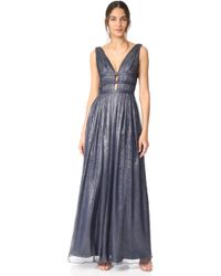 Monique Lhuillier Bridesmaids - V Neck Gown - Lyst